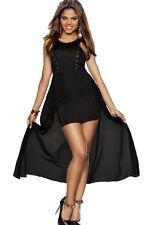 Fashion High Low Black Evening Dress Gold Rivets Detail Medium