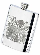 Pewterware sporting life fishing & shooting scene 6oz oblong hip flask & funnel