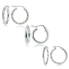 .925 Sterling Silver Set of 3 Round Hoop Earrings
