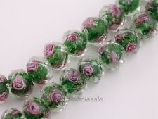 20pcs 12mm Faceted Glass Rondelle Charms Rose Flower Inside Lampwork Loose Beads