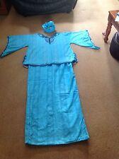 Donna Vestito tradizionale africano, 3 pezzi (top, gonna & HEAD Scalf) Blu Royal