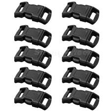 "10Pcs 3/8"" Curved Side Release Buckles Black Webbing Straps For Paracord STGG"