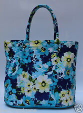 Blue Printed Canvas Tote Bag, Shopping, Working ,Travel, Beach, Utility Tote