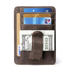 Mens Genuine Leather Metal Money Clip Front Pocket Slim Wallets ID Card Holder