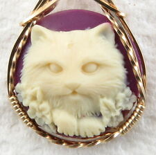 Flower Cat Cameo Pendant 14K Rolled Gold Animal Jewelry Purple Resin