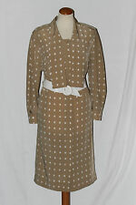 pur vintage robe ted lapidus beige pois blanc ceinture t 44 viscose sublime