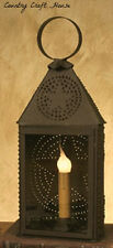 Primitive Colonial Revere RUSTY PUNCHED STAR Tin Electric Lamp  Light Lantern