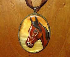 RUSSIAN hand painted Brown HORSE MOP SHELL German Silver pendant brooch signed