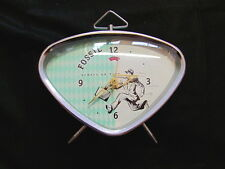 Vintage 1990s Fossil Windup Alarm Clock with 1950s retro space age design green