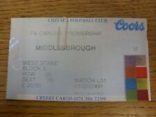 21/08/1996 Ticket: Chelsea v Middlesbrough [Ticket Is Specific To Game (Match Co