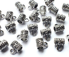 25 x Quality Patterned Antique Silver Plated Bail Charms Bead Hanger 19mm x 10mm