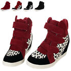 New Female High Top Preppy Sports Shoes Ankle Boots Wedge Hidden Heel Sneakers