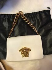 NWT Versace White Leather Gold Chain Clutch, Hand Bag . Retail $2550
