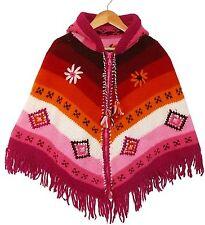 KINDER PONCHO, pink, rosa, orange, Gr. 110/116, 100% Schafwolle, Kapuze, Ethno
