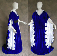 Blue Scalloped Renaissance Medieval Dress SCA Ren Faire Game of Thrones LOTR S