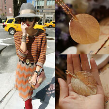 Fashion Woman Elegant Lucky Golden Leaf Pendant Necklace Long Sweater Chain