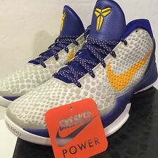 Nike Zoom Kobe VI 6 sz 11 White Del Sol Concord purple yellow Lakers Home v iv i