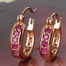 Journey Jewelry! Vintage antique Ruby 18k gold filled awesome huggie earring