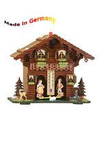 Schwarzwälder Wetterhaus mit Thermometer, Holzfiguren, Made in Germany