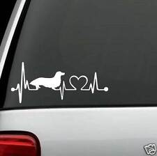K1054 Long Haired Dachshund Heartbeat© Lifeline Monitor Dog Decal Sticker
