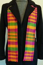 4.5x60 inch Authentic African Kente Cloth Stole Scarf made in Ghana Purple Green