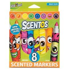 SCENTED COLOUR MARKER PENS PACK OF 8 - COLOURFUL FUN FRUITY SMELLING MARKER PENS