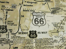 ROUTE 66 HISTORICAL MAP TAN BEIGE COTTON FABRIC BTHY