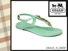 NWB COACH WOMEN PHILA JELLY MINT GREEN THONG FLATS SANDALS SHOES SIZE 7 M