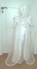 "White Gown coat & bonnet set, Christening 6-12 m baby, 23-28"" reborn dress (180)"