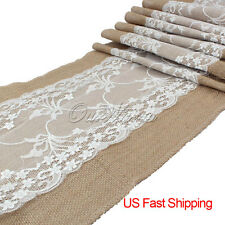 Wholesale 10pcs Burlap Lace Table Runners Wedding Party Kitchen Table Decor US