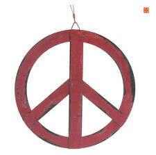 Red Metal Ornament Groovy Peace Sign Wall Hanging Home Door Decor 12''x12''