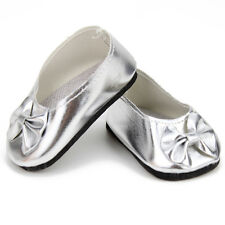 """Silver Bow Slip-on Shoes Fits 18"""" American Girl Doll Clothes Reborn Baby Doll"""