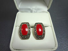 925 Sterling Silver Red Coral & Marcasite Earrings
