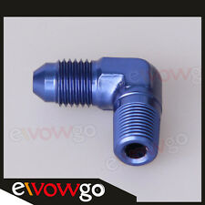 "3AN AN3 AN-3 To 1/8"" NPT 90 Degree Male Fitting Adapter Aluminum Blue"