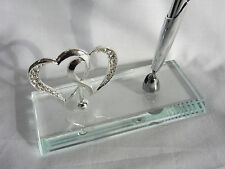 Silver Signing Pen/ Stand 4 Wedding Birthday Guest Book Diamante Crystal Hearts