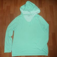 Women's Sonoma Lifestyles Mint Green Striped Hoodie Pull-Over Sweatshirt Large