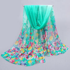 Women Fashion Pretty Long Soft Chiffon Scarf Wrap Shawl Stole Scarves green