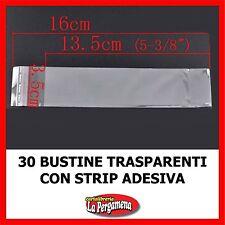 30 bustine plastica trasparente con strip adesiva formato 16X3,5 per confezioni