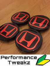 NEW GLOSS BLACK HONDA CIVIC TYPE R EP3 WHEEL CENTRE CAPS DC5 FN2 FD2 EP2 ALLOYS
