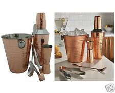 5 Pcs Copper Cocktail Set Jigger Ice Bucket Shaker Tongs Spoon Cup Bar Kitchen