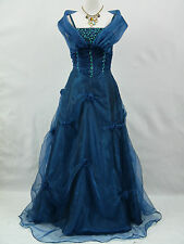 Cherlone Plus Size Blue Long Ballgown Wedding Evening Bridesmaid Dress 18-20