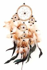 SM NEW BROWN TAN DREAM CATCHER HANDMADE LEATHER FEATHER CAR OR WALL DECOR IW