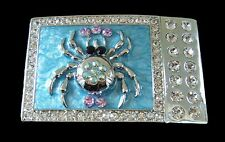 BLUE CRYSTAL RHINESTONE SPIDER INSECT DRESSY BELT BUCKLE BOUCLE DE CEINTURE