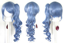 23'' Curly Pony Tail + Base Saxe Blue Cosplay Wig NEW