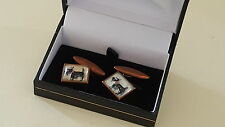 Essex crystal reverse carved intaglio vintage Art Deco antique dog cufflinks