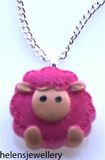 GORGEOUS HANDMADE CUTE PINK SHEEP NECKLACE + FREE GIFT BAG