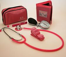 Pink Aneroid Blood Pressure Sphygmomanometer Stethoscope Penlight Tourniquet GP