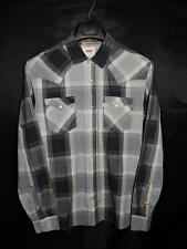 Levi's M Black Blue Gray Brown Plaid Western Snap Shirt Long Sleeve Mens Medium
