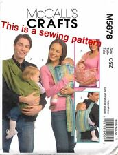 MCCALL'S SEWING PATTERN 5678 BABY SZ S-M-L SHOULDER SLING/CARRIER BACKPACK STYLE