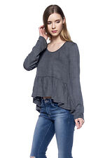 Buckle New Womens Gray Casual Hi Lo Long Sleeve Fashion Crop Top Tee T-Shirt S